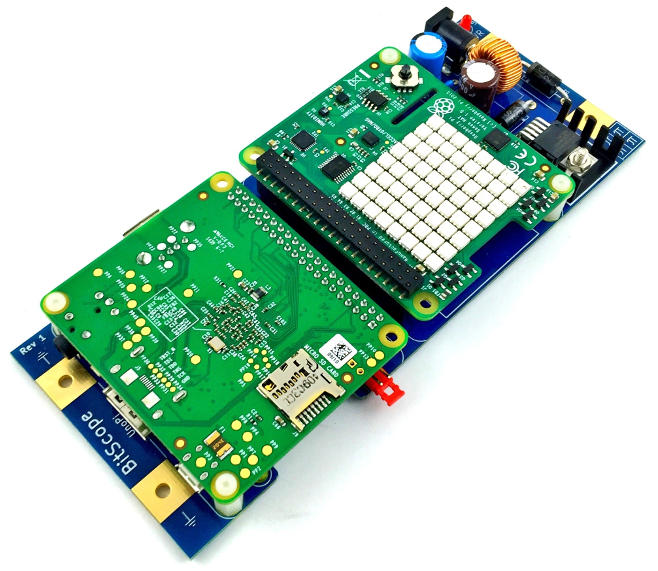 BitScope Blade Uno Pi and Raspberry Pi Sense HAT