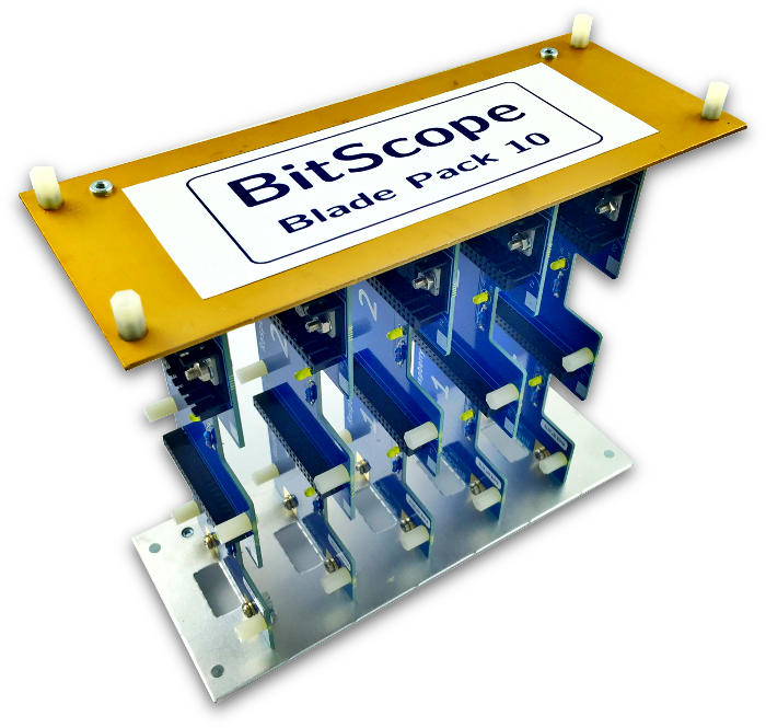 BitScope Blade Pack 10, Power & Mounting for 10 Raspberry Pi (Raspberry Pi not included).