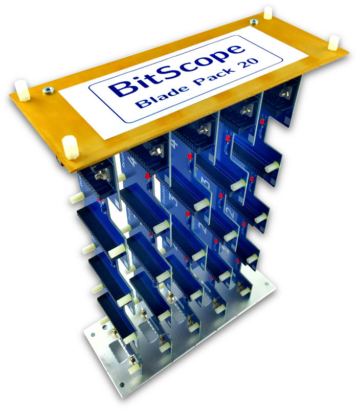 BitScope Blade Pack 20, Power & Mounting for 20 Raspberry Pi (Raspberry Pi not included).