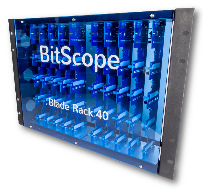 BitScope Blade Rack 40, Power & Mounting for 40 Raspberry Pi (Raspberry Pi not included).